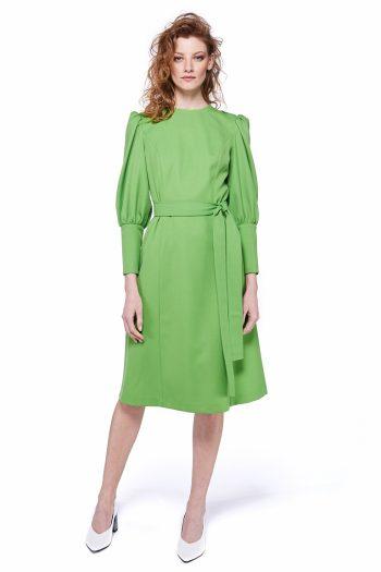 Puff Sleeve Wool Blend Midi Dress