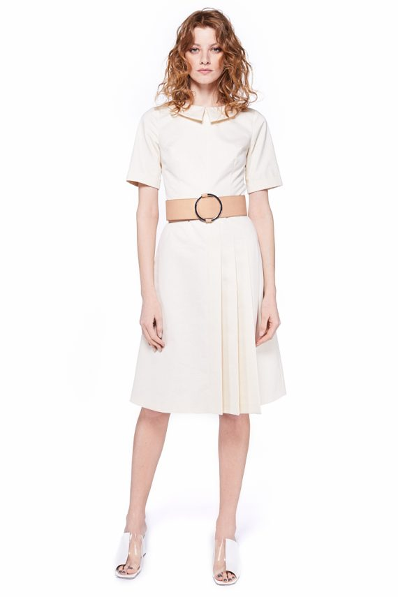 Pleated Cotton Midi Dress
