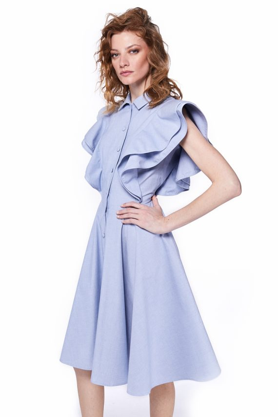 Ruffled Cotton Midi Dress