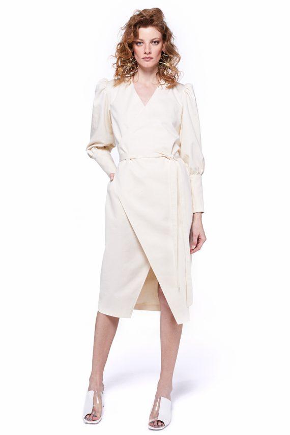 Puff Sleeves Wrap Dress