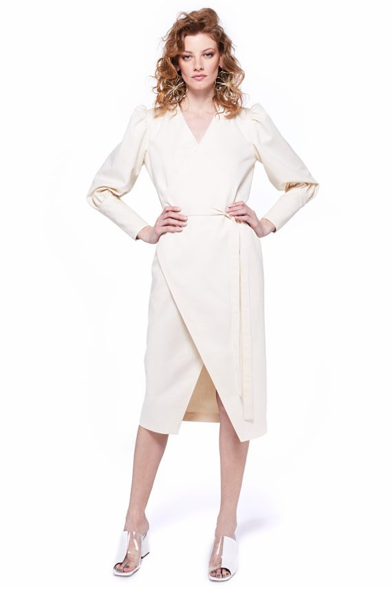 Puff Sleeves Wrap Dress