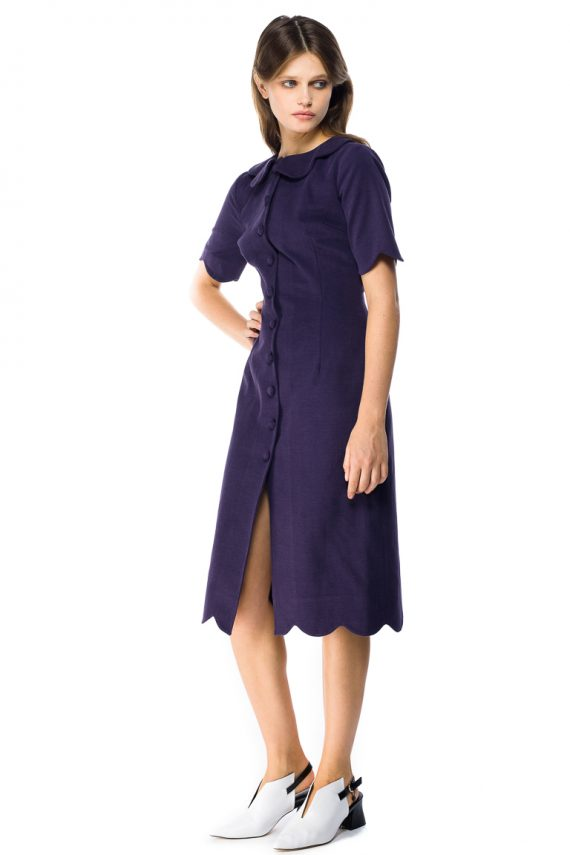 Round Collar Cotton Shirt Dress