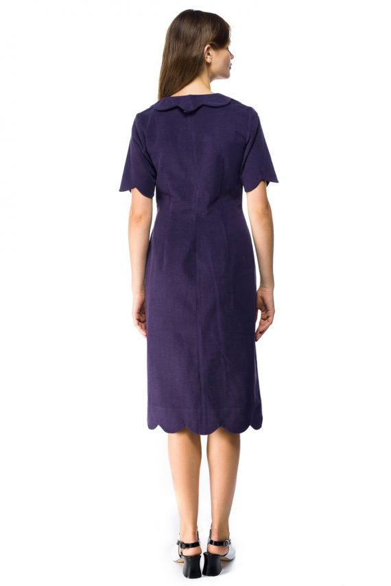Round Collar Cotton Shirt Dress - back
