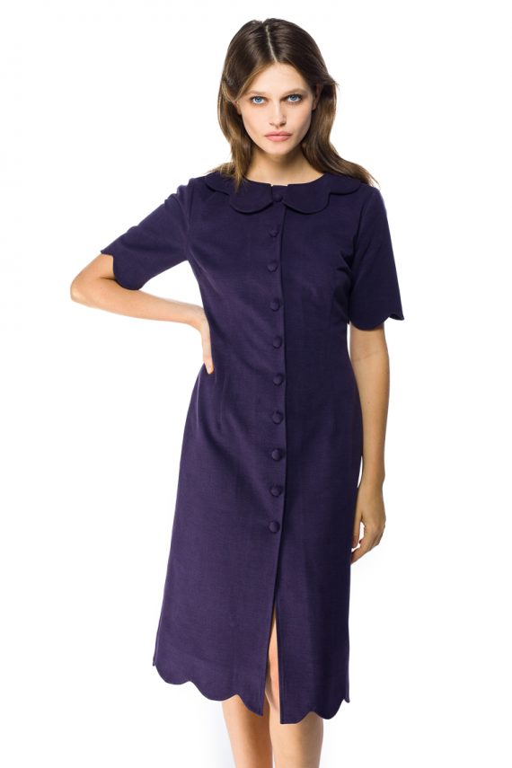 Round Collar Cotton Shirt Dress - close up