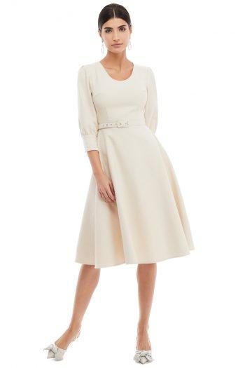 Round Neckline Cotton Midi Dress