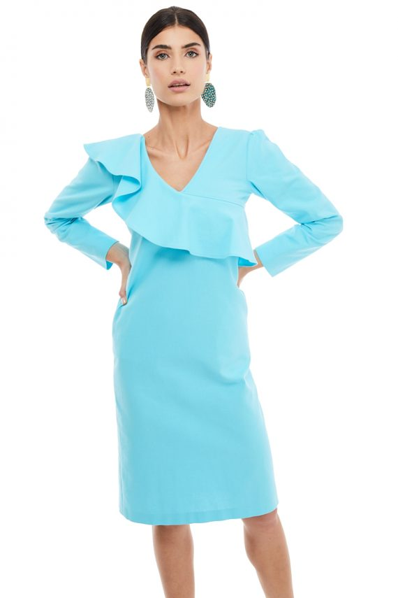 Ruffled Detailed Cotton Midi Dress