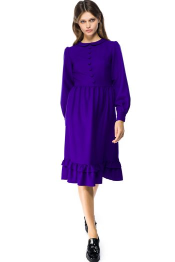 Ruffled Hem Wool Midi Dress