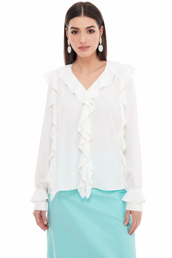 Ruffled Viscose Blouse