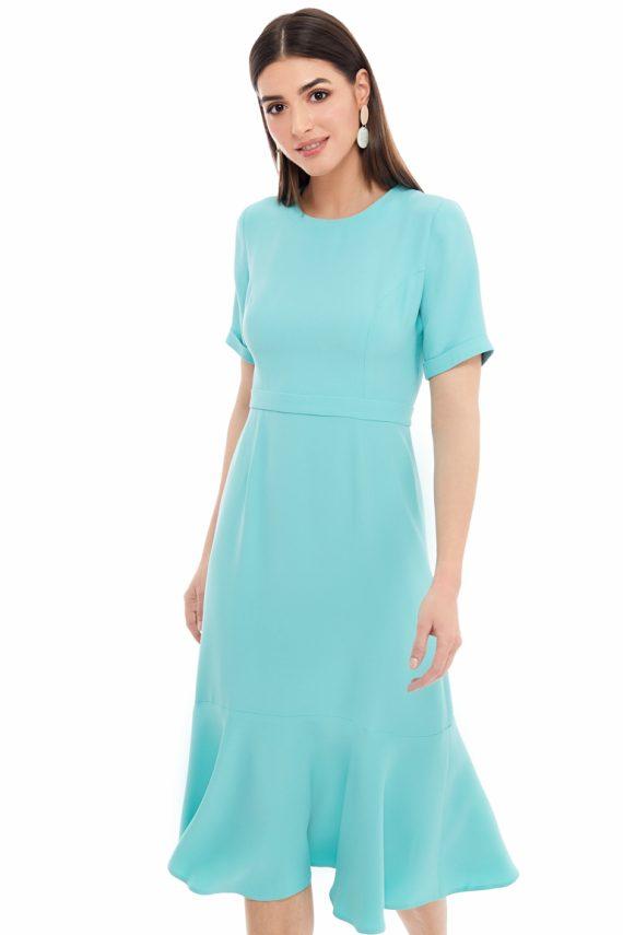 Ruffled Viscose Midi Dress
