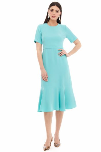 Ruffled Viscose Midi Dress