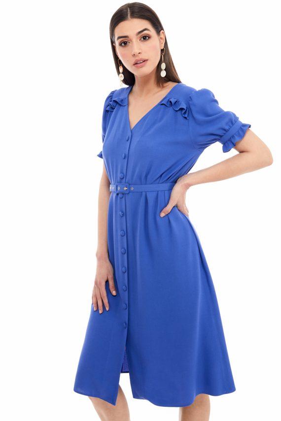 Ruffled Viscose Shirt Dress