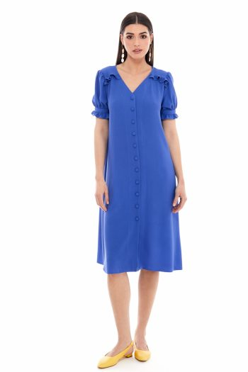 Ruffled Viscose Shirt Dress