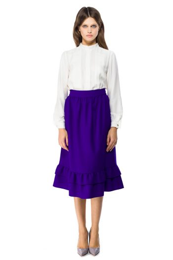 Ruffled Wool Midi Skirt