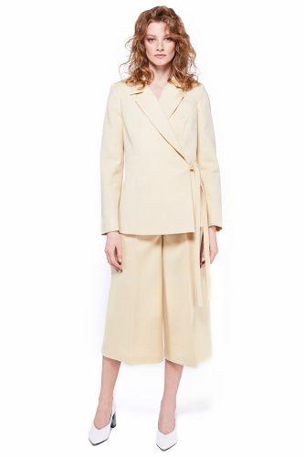 Sacou cu cordon, din lana Pantaloni trei sferturi din lana