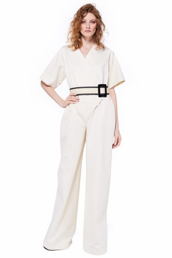 Oversized Wrap Effect Cotton Jumpsuit