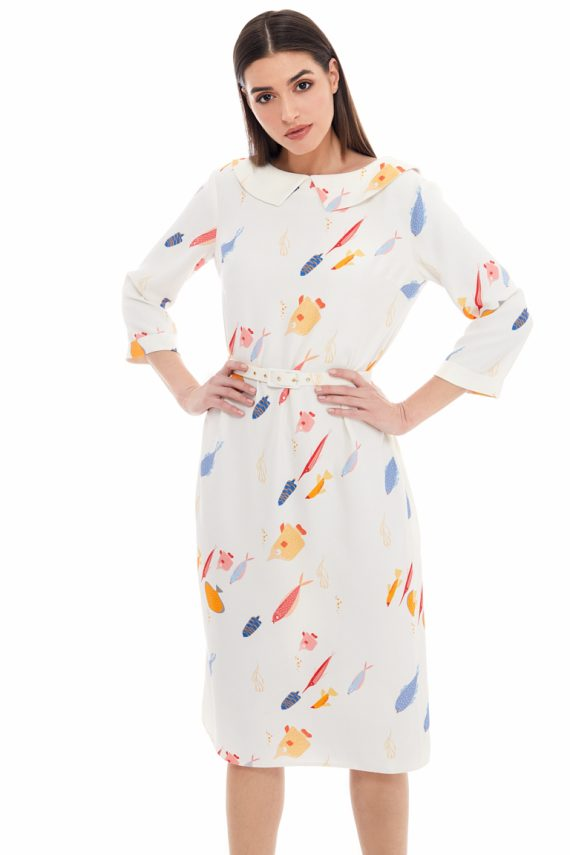 School of Fish Print Collar Dress