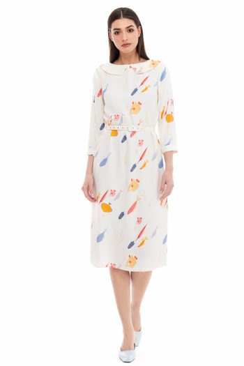 School of Fish Print Collar Dress