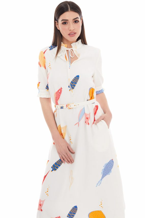 School of Fish Print Midi Dress