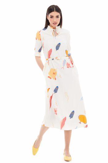School of Fish Print Midi Dress