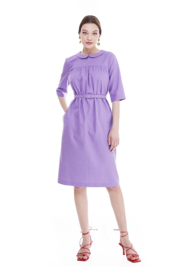 Sophia Round Collar Cotton Midi Dress