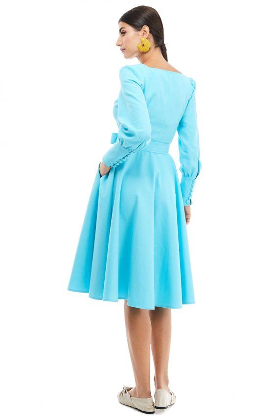 Square Neckline Cotton Shirt Dress