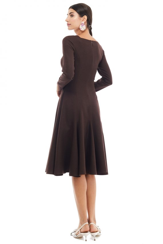 Square Neckline Godet Dress