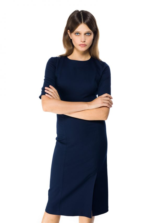 Stretch Cotton Midi Dress - close up