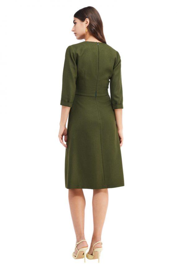 Valerie Wrap Effect Wool Midi Dress