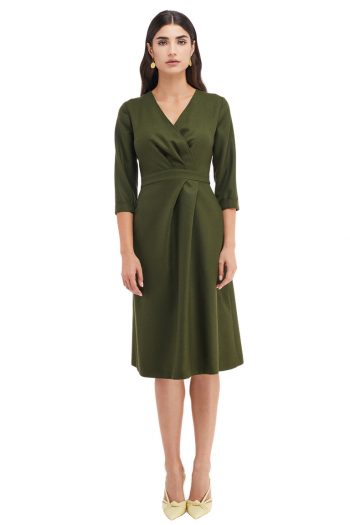 Valerie Wrap Effect Wool Midi Dress