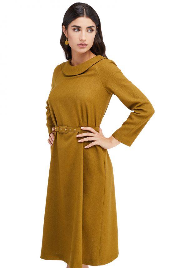 Vera Round Collar Wool Midi Dress
