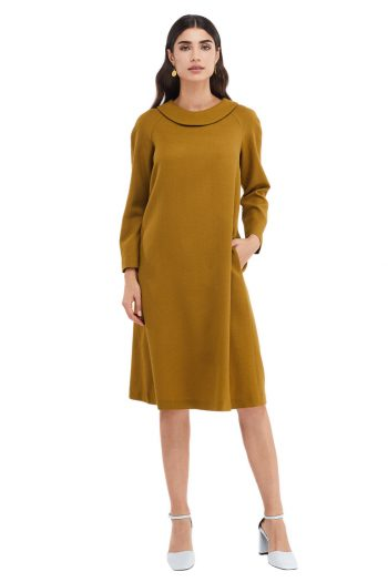 Vera Round Collar Wool Midi Dress