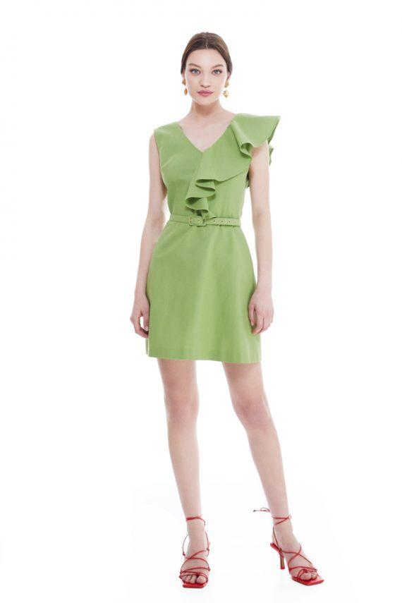 Veronica Ruffled Cotton Mini Dress