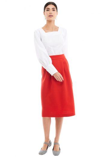 Wool Midi Skirt Puff Sleeve Cotton Blouse