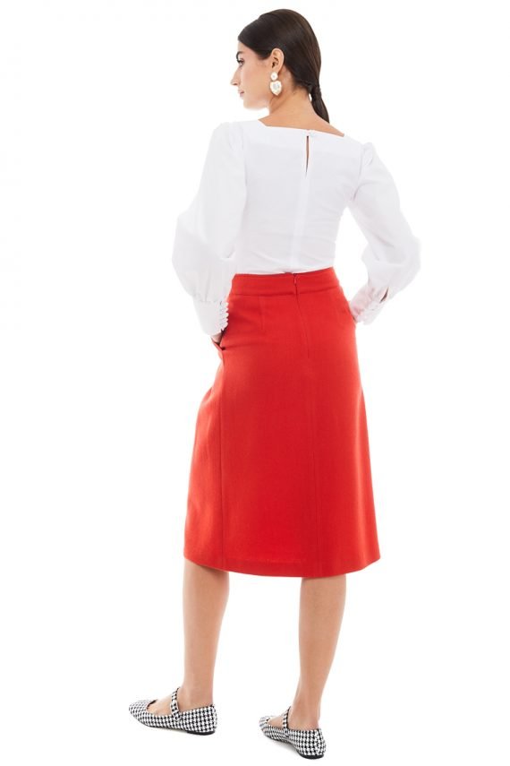 Wool Midi Skirt Puff Sleeve Cotton Blouse