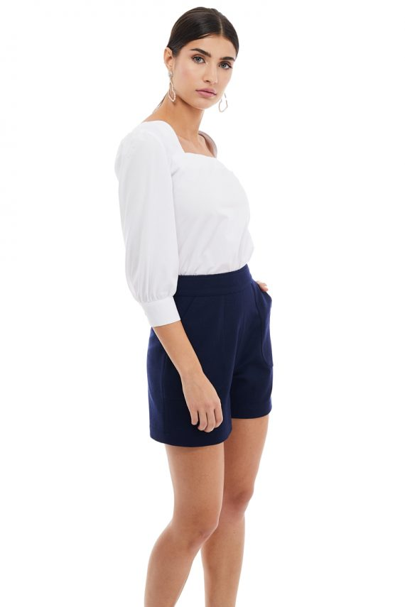 Wool Short Square Neckline Cotton Blouse