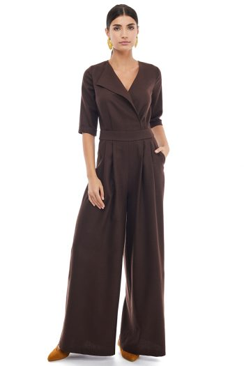 Wrap Effect Lapel Jumpsuit