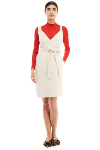Wrap Effect Pinafore Dress