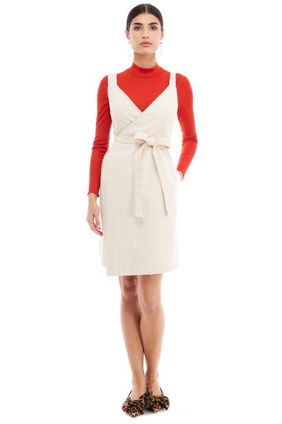 Wrap Effect Pinafore Dress