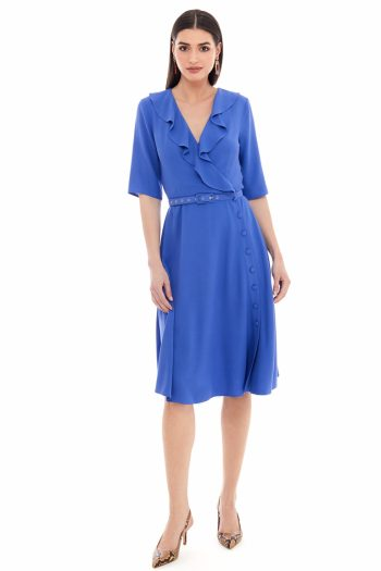 Wrap Effect Viscose Midi Dress
