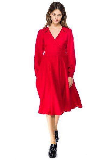 Wrap Effect Wool Midi Dress
