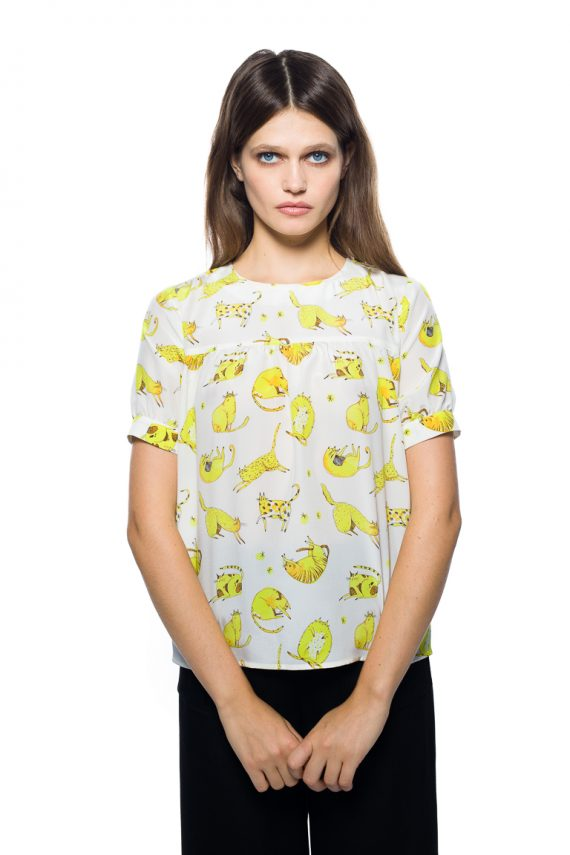 Yellow Cats Silk Blouse