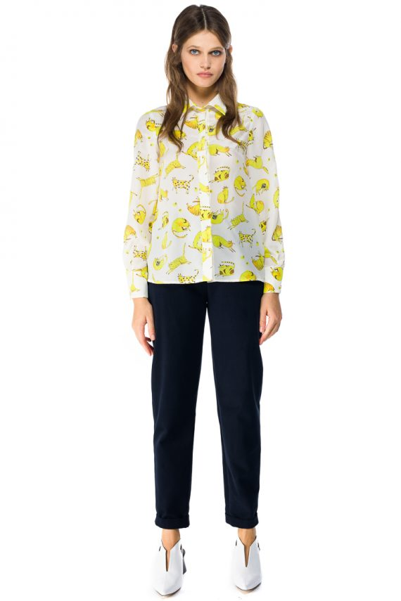 Yellow Cats Silk Shirt