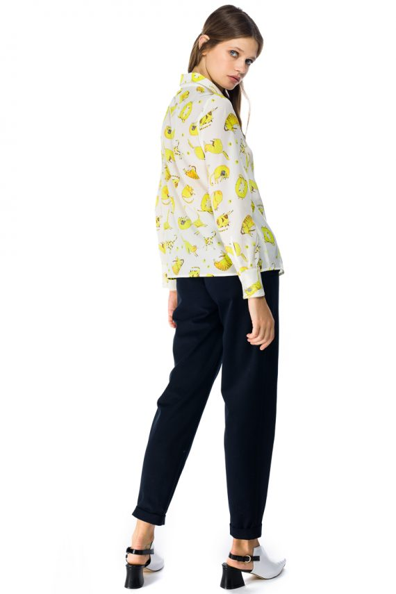 Yellow Cats Silk Shirt - back