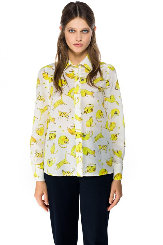 Yellow Cats Silk Shirt - close up