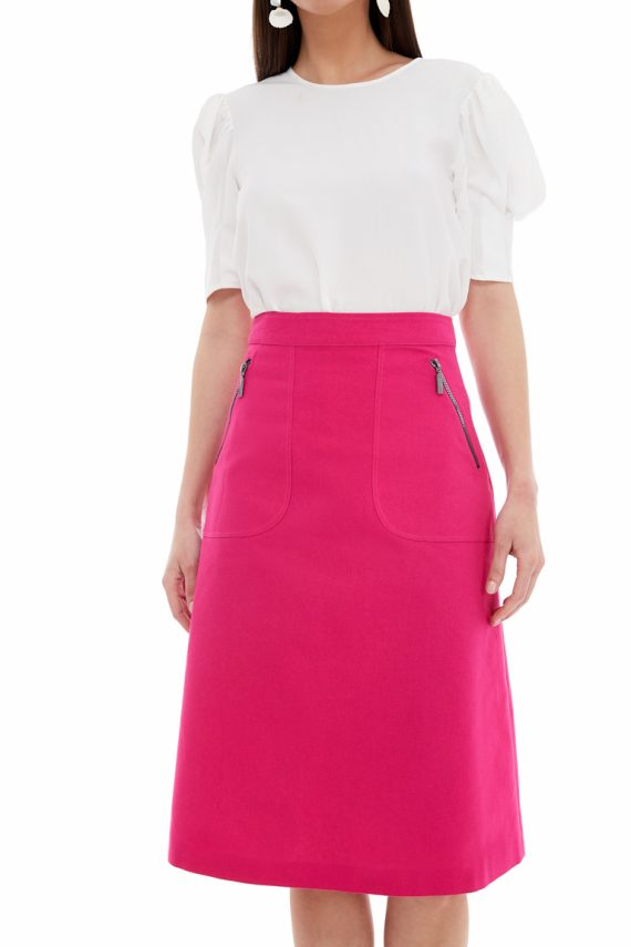 Zip Pocket Cotton Midi Skirt
