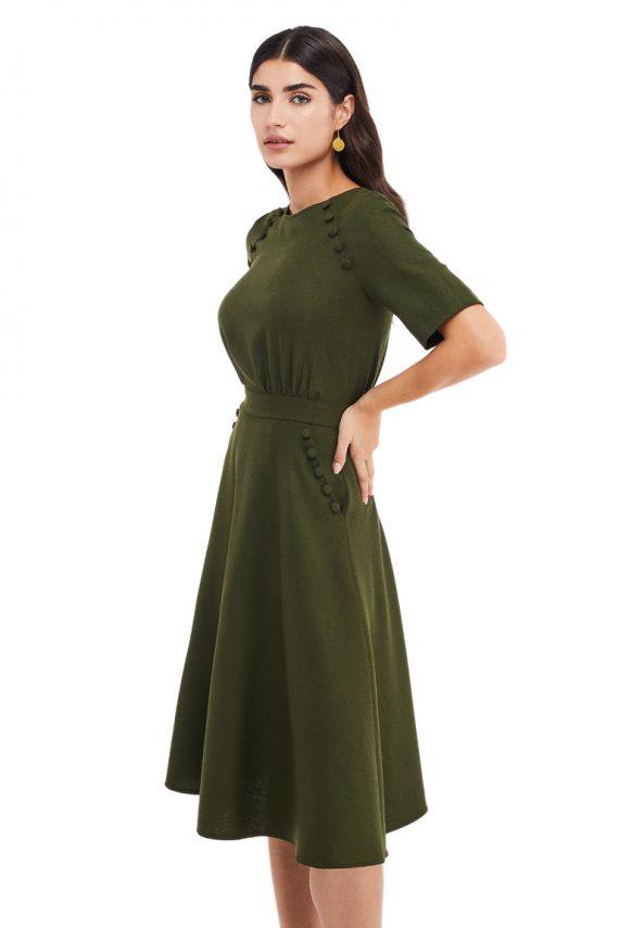 Zoe Button Embellished Wool Midi Dress