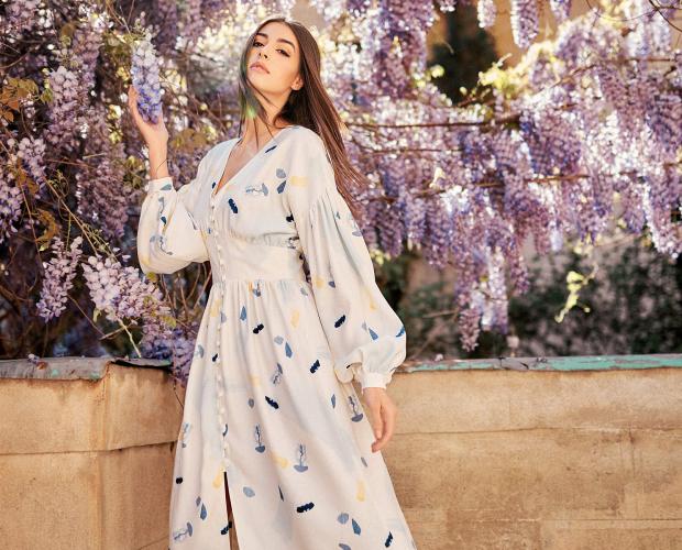 JELLYFISH Print Midi Shirt Dress